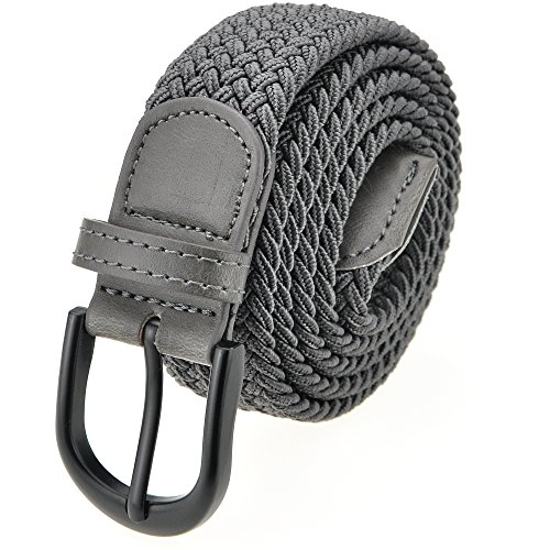 Braided Stretch Elastic Belt with Pin Oval Solid Black Buckle Leather Loop End Tip with Men/Women/Junior (Grey, Medium 32