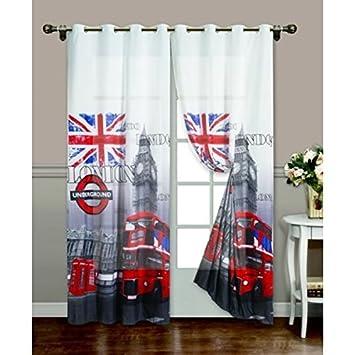 Tenda per interni ad occhielli London/Londra tessuto stampato ...