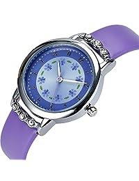 Girls Watches,Flowers Diamond Wrist Watch Leather Band Quartz Cute Waterproof Watches for Kids Girls (Purple)