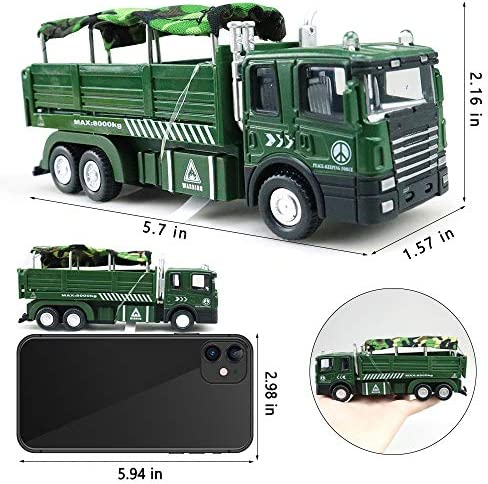 with Lights and Sounds for Kids Toddlers Boys,A WZRY Toy cars Military Vehicle Army Toys,Die Cast Metal Alloy Truck Carrier Vehicle Pull Back Model Car