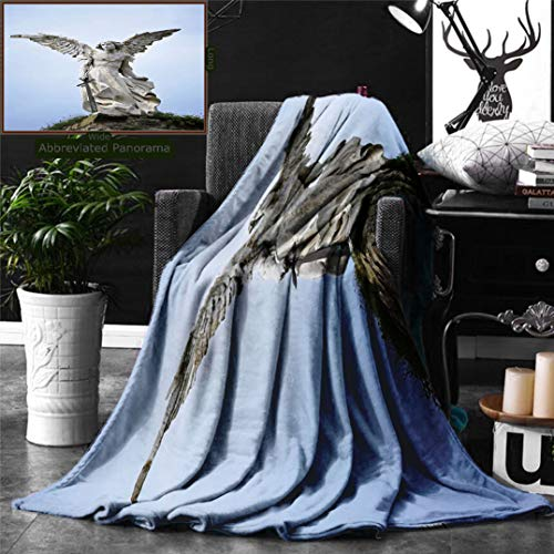Ralahome Unique Custom Digital Print Flannel Blankets Sculptures Decor Collection Sculpture A Guardian Angel Sword in The Cemete Super Soft Blanketry Bed Couch, Throw Blanket 60 x 40 Inches