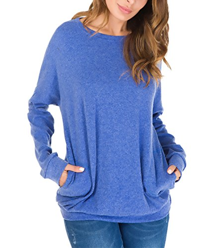 Camicia Plus A Primaverile Libero Damigella Tempo Blu Bluse Prodotto Donna con Magliette Monocromo Camicetta Shirts Tasche Eleganti Sciolto Tunica Lunghe Tops Rotondo Collo Moda Maniche Autunno 0qf8CEw