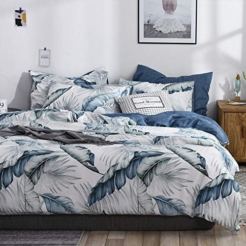 VM VOUGEMARKET King Duvet Cover Set Blue,100% Cotton Tropical Botanical Leaves Print Bedding Set with Zipper Ties 1 Duvet Cover 2 Pillowcases Hotel Quality Soft Comfortable
