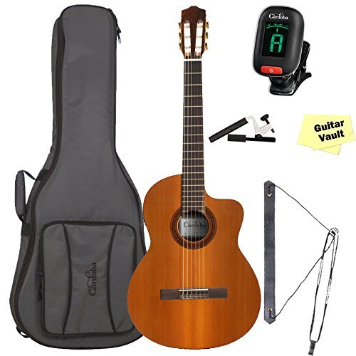 Cordoba C5-CE Acoustic-Electric Nylon String Classical Guitar With Cordoba Deluxe Gig Bag & Accessory Pack (Nylon Acoustic Electric Strings)