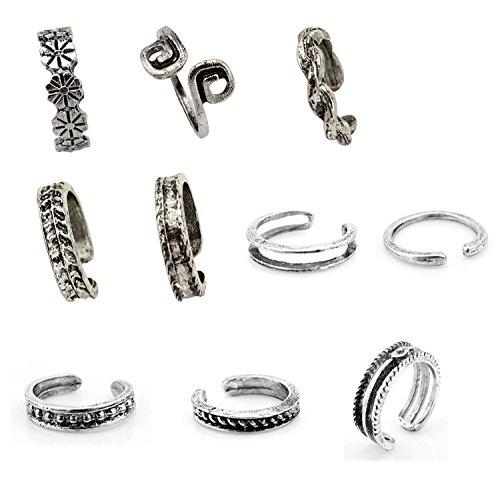 10PC Sc0nni Women Fashion Simple Retro Toe Ring Adjustable Foot Beach Jewelry