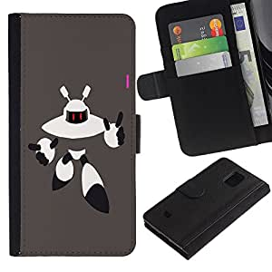 Billetera de Cuero Caso Titular de la tarjeta Carcasa Funda para Samsung Galaxy S5 Mini, SM-G800, NOT S5 REGULAR! / Robot Alien / STRONG