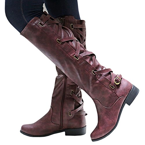 Winter Tall Red Boots Leather Strappy Women Wine Meilidress Flat Riding EqtgB1xnz