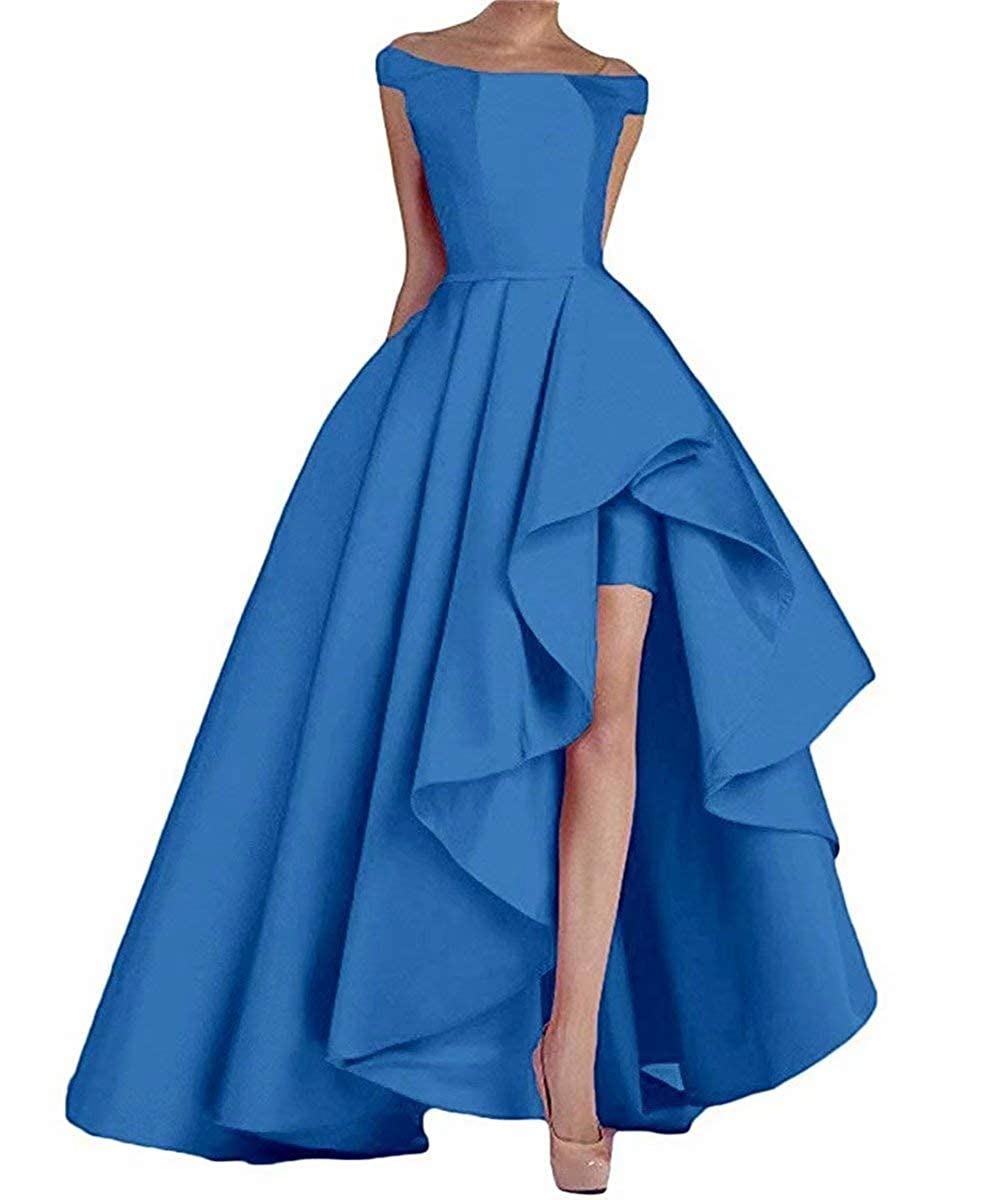 bluee RONGKIM Women's High Low Off The Shoulder Evening Dresses Long Satin Prom Formal Gown