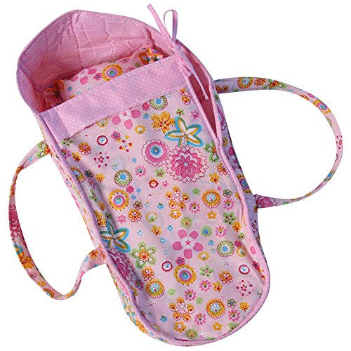 "Baby Whitney 18"" Pink Floral Fabric Doll Carrier Toy Bed (Doll Not Included)"