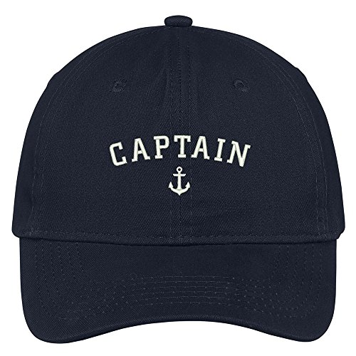 Trendy Apparel Shop Captain Anchor Embroidered Soft Cotton Adjustable Cap Dad Hat - Navy ()