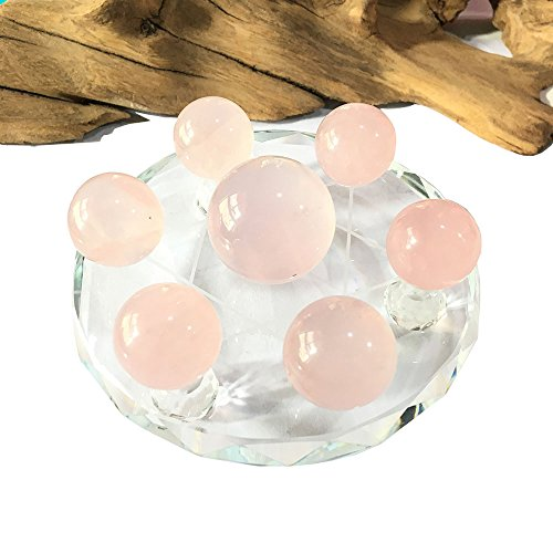 MOSOAO Natural Rose crystal ball Seven Star Group crystal spheres Qixing-array Ornament with Clear Quartz Crystal Glass Stand For Home Decoration (Rose Quartz ()