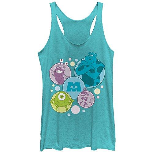 Monsters Inc Women's Character Bubbles Tahiti Blue Racerback Tank Top -