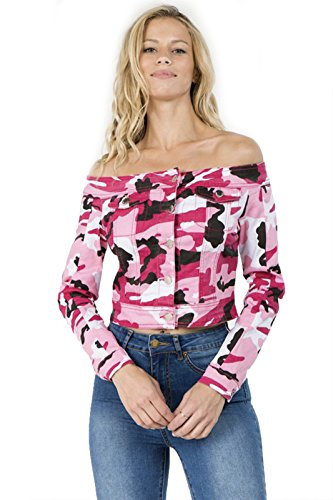TwiinSisters Women's Basic Classic Casual Destroyed Button Down Denim Jacket - Size Small to 3X (X-Large, Pink Camo -