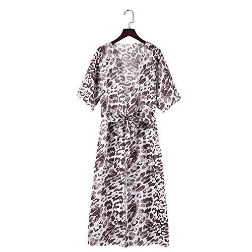 Robe De Leopard Puseky Largo Playa Bikini Up Cover Cardigan Leopardo 4Pq6g8