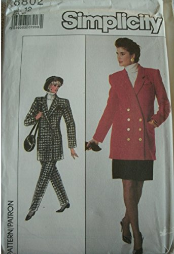 - Misses Pants, Skirt and Lined Jacket Size 12 Simplicity Pattern 8802 Vintage Classic Dated 1988