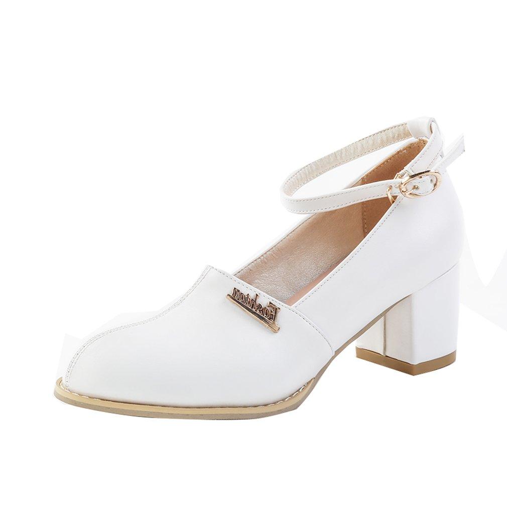 YE Damen Knöchelriemchen Pumps Blockabsatz High Heels mit Riemchen Elegant Schuhe  37 EU Wei?