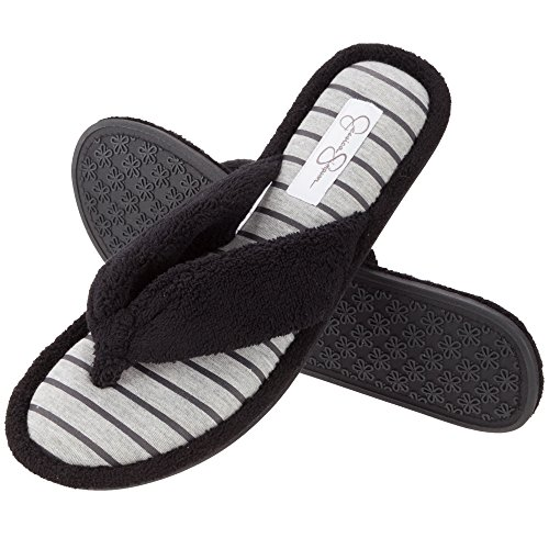 Ultimate Thong Flip Flop (Jessica Simpson Cozy Thong Spa Flip Flop Women's Indoor Slippers (Small (5-6), Black/Grey))