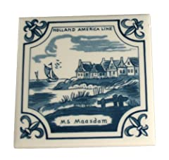 Vintage Delft Holland America Line Small 4x4 Inch Porcelain Tile w/ Cork Back - Ms Maasdam