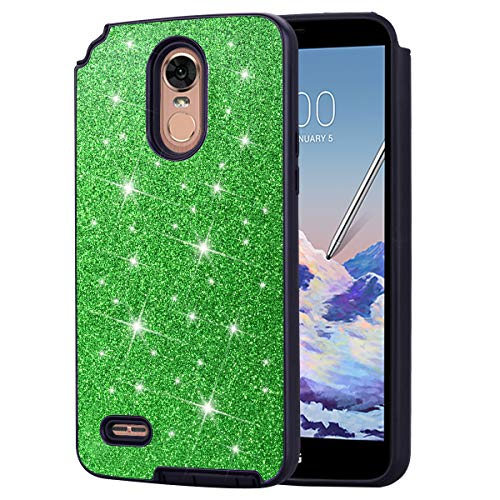 (DAMONDY LG Stylo 3 Case,for LG Stylo 3 Plus Case, Shockproof Glitter Women Girls 2 in 1 Shiny Bling Hybrid Bumper Soft Gel TPU Protective Phone Case Cover for LG Stylo 3 Plus-Green)