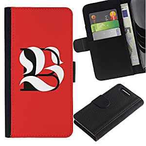 UPPERHAND ( No Para Xperia Z1 ) Imagen de Estilo Cuero billetera Ranura Tarjeta Funda Cover Case Voltear TPU Carcasas Protectora Para Sony Xperia Z1 Compact D5503 - BL ser significando inicial caligrafía