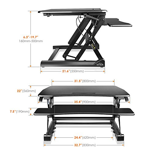 SIMBR Standing Desk Converter, Height Adjustable Sit Stand Desk Riser with Adjustable Keyboard Computer Workstation Size 35.4in x22in for Home and Office Black