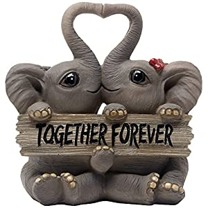 Loving Elephant Couple Figurine with Together Forever Sign and Heart Shape Trunks for Decorative Girls Bedroom Decor Statues Or Romantic Anniversary for Girlfriend and Women