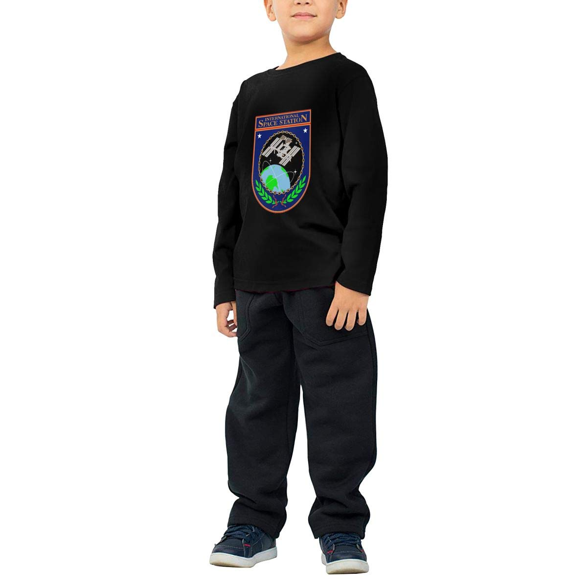 International Space Station Official Logo Childrens Long Sleeve T-Shirt Boys Cotton Tee Tops