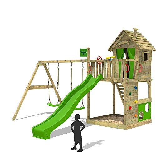 FATMOOSE Spielturm HappyHome Hot XXL Baumhaus Kletterturm Klettergerüst Doppelschaukel Rutsche Sandkasten Kletterwand