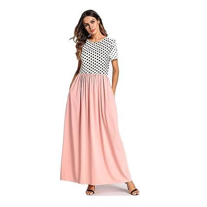 Cvbndfe Cómodo Vestidos de Lunares para Mujeres Batas Musulmanas Faldas de Talla Grande para Mujeres en
