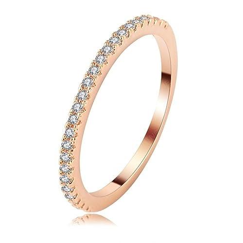 Para mujer 18 K chapado en oro anillos, compromiso, boda bandas nosotros tamaño oro
