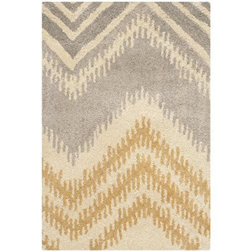 Safavieh Capri Collection CPR445B Handmade Grey and Gold Premium Wool Area Rug (2' x 3')
