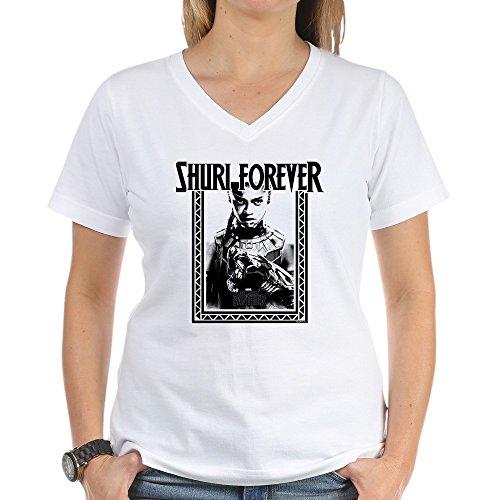 (CafePress Black Panther Shuri Women's V Neck T Shirt Womens Cotton V-Neck T-Shirt)