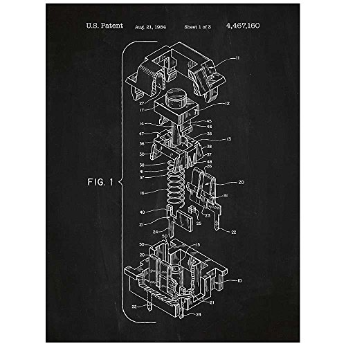 Inked and Screened SP_TECH_4,467,160_CH_24_W Cherry Key Cap Design Patent Art Poster Silk Screen Print, Chalkboard, 18