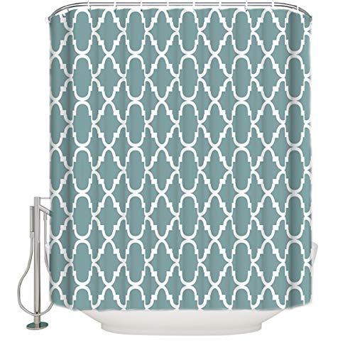 SIMIGREE Extra Long Fabric Bath Shower Curtains Modern Green Geometric Lattice Welcome Bathroom Decor Sets with Hooks 72