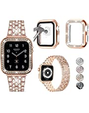 JOHIPI Compatible with Apple Watch Band 38mm 40mm 42mm 44mm with Case, Bling Diamond Metal Strap with Diamond Case and Glass Screen Protector Cover For iWatch Series 6 5 4 3 2 1 SE