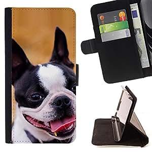 KingStore / Leather Etui en cuir / Apple Iphone 5C / Staffordshire Bull Terrier perro de Boston
