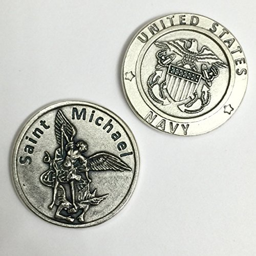 Saint Michael Prayer Archangel Pocket Token Coin United States Navy Protection Protect Catholic Charm Medal Religious Gift 1 1/8