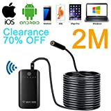 SanSiDo Endoscope Camera Wifi Endoscope Borescope Camera 2.0 Megapixels HD 7mm 6 Leds Waterproof Snake Camera with Shutter for IOS Android IPhone 7/7Plus/6/6s,iPad Pro,Samsung (WIFIBOX-Endoscope-2M)
