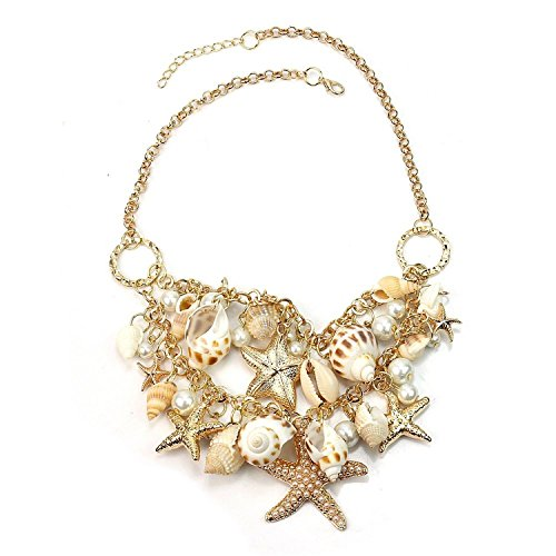 - GALLOPJOY Women Sea Shell Starfish Faux Pearl Bib Statement Chunky Necklace