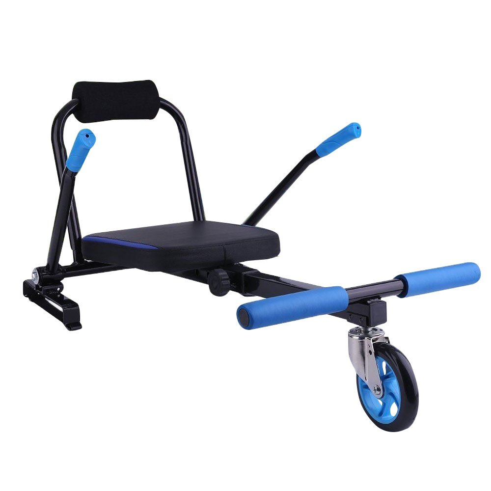 HoverBoard Holder Adjustable Balance Scooter Excellent kart Attachment Seat Holder with Handles Foot Rests and a Soft Padded Two Steering Unique Design Fast Ride with Great Control Metal+ABS Black