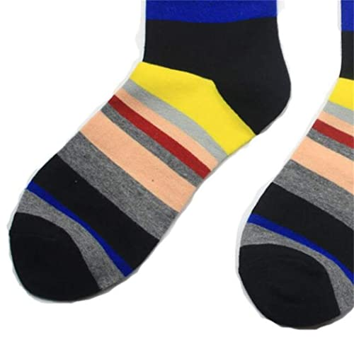Men Socks Calcetines de Dibujos Animados de Hombres Color Block Stripe Medias Suaves de Calentamiento Transpirable