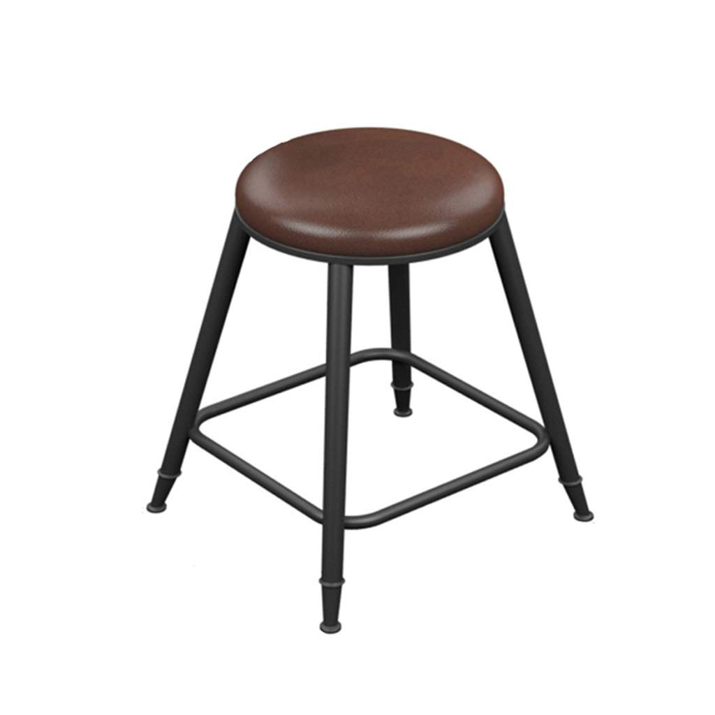 No backrest 45cm high Retro Iron Art Bar Stool High Leg Chairs Modern Simple Kitchen Household Seat Backrest Design Sturdy Non-Slip 0522A (color   with backrest, Size   68cm high)