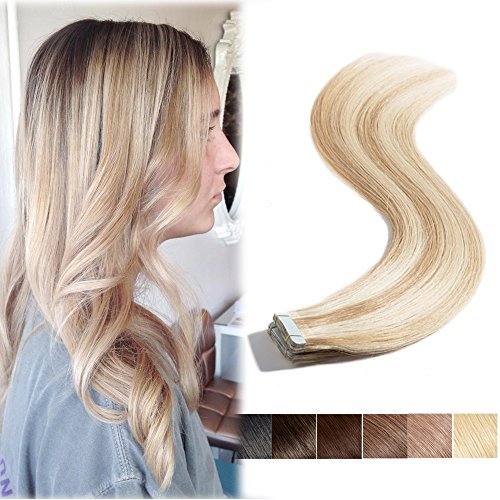 20 inch Highlighted Tape in Human Hair Extensions Ash Brown mixed Bleach Blonde Balayage Long Straight Tape on 20pcs/30g Seamless Skin Weft Invisible Double Sided for Women (20