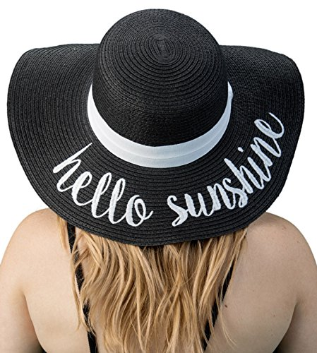 H-2017-HS06 Funky Junque Sun Hat - Hello Sunshine (Black) (Floppy Hat With Bow For Women)