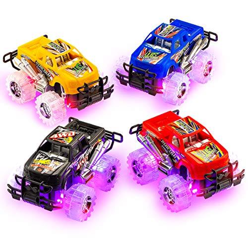 4E's Novelty 4 Pack Monster Pullback Racer Cars, Light up Wheels, Push n Go Toy Cars for Boys, Best Gift for - Monster Racers