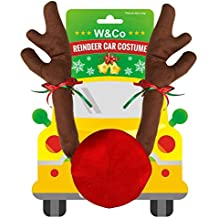 W&Co Car Reindeer with Jingle Bells Costume Reindeer Christmas Car Character Kit Party Accessory
