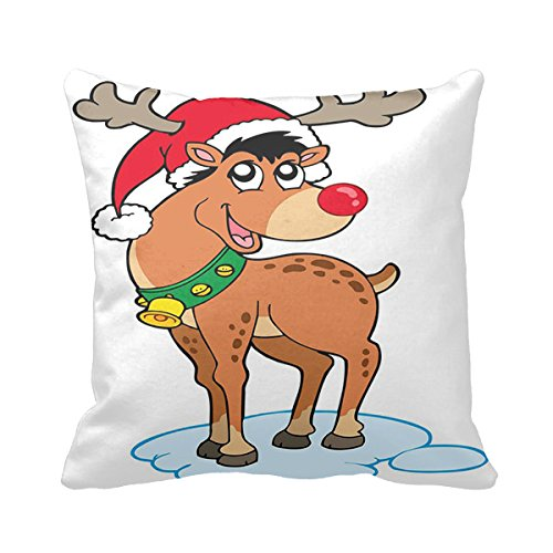 (Starings Square Pillowcase Vintage Christmas Deer Clipart Pillow Cover 20 inch)