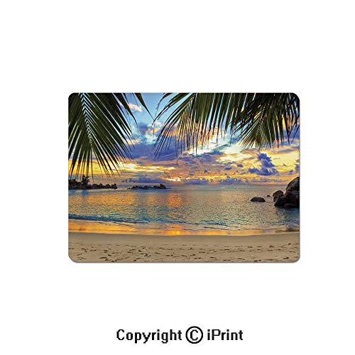 Oversized Mouse Pad,Sunset at Beach Rumbling Ocean Luxurious Resort with Palm Trees Travel Locations Picture Gaming Keyboard Pad,9.8x11.8 inch Non-Slip Office Computer Desk Mat,