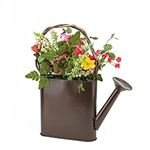 """17"""" Red and Yellow Silk Gerbera Daisy Artificial Spring Floral Arrangement Watering Can 64"""