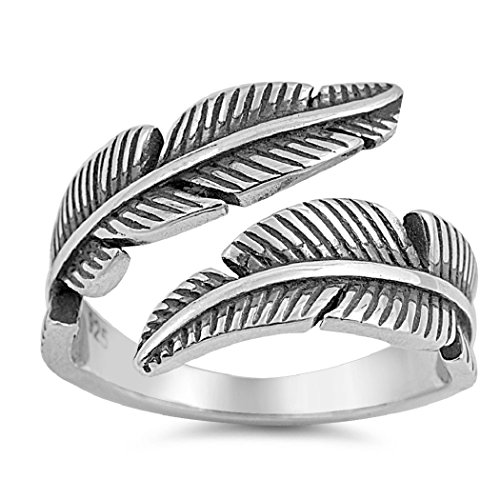 Sterling Silver Double Feather Staccato Ring 11MM Size 7 - Sterling Silver Quill